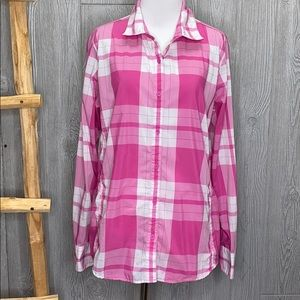 The North Face Pink White Plaid Button Up Shirt LG